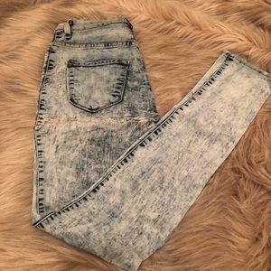 High waist acid wash skinny stretch jeans